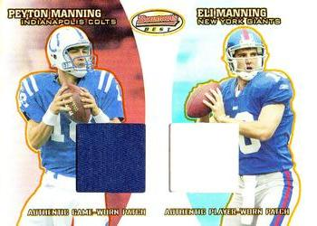 2004 Bowman's Best - Best Coverage Jersey Duals #BC-MM Peyton Manning / Eli Manning Front