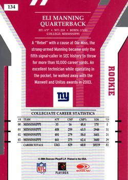 2004 Donruss Elite - Aspirations #134 Eli Manning Back