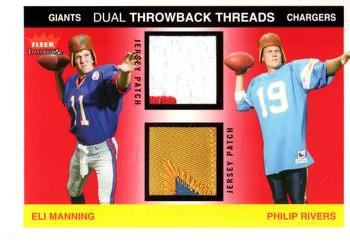 2004 Fleer Tradition - Rookie Throwback Threads Dual Patches #TTD-EM/PR Eli Manning / Philip Rivers Front