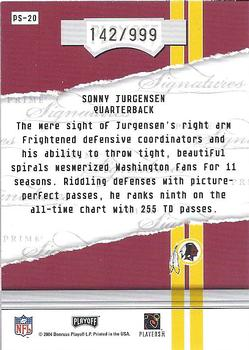 2004 Playoff Honors - Prime Signature Previews #PS-20 Sonny Jurgensen Back