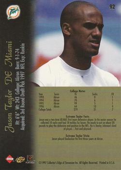 1997 Collector's Edge Extreme #92 Jason Taylor Back