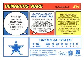 2005 Bazooka - Blue #214 DeMarcus Ware Back