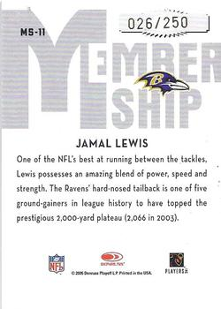 2005 Donruss Classics - Membership Gold #MS-11 Jamal Lewis Back