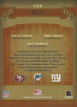 2006 Donruss Classics - Classic Triples Materials Prime #CT-5 Steve Young / Dan Marino / Phil Simms Back