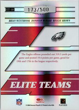 2006 Donruss Elite - Elite Teams Red #ET-18 Brian Westbrook / Donovan McNabb / Reggie Brown Back