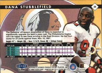 1998 Fleer Tradition #25 Dana Stubblefield Back