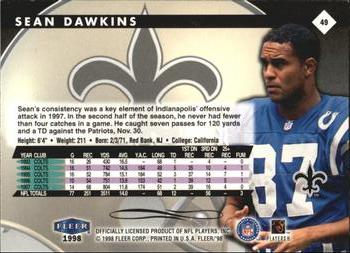 1998 Fleer Tradition #49 Sean Dawkins Back