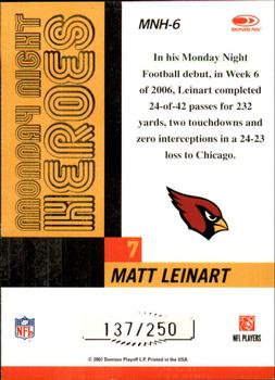 2007 Donruss Classics - Monday Night Heroes Silver #MNH-6 Matt Leinart Back