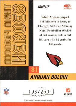 2007 Donruss Classics - Monday Night Heroes Silver #MNH-7 Anquan Boldin Back