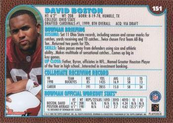 1999 Bowman #151 David Boston Back