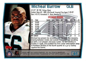 1999 Topps #61 Micheal Barrow Back
