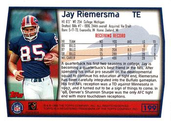 1999 Topps #199 Jay Riemersma Back