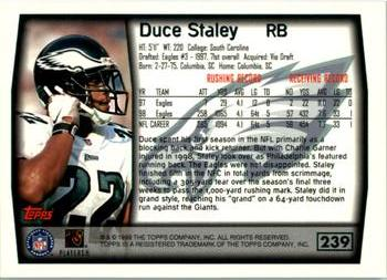 1999 Topps #239 Duce Staley Back