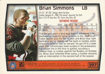 1999 Topps #297 Brian Simmons Back