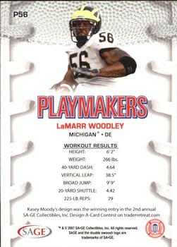 8d6477036 2007 SAGE HIT - Playmakers Silver  P56 LaMarr Woodley Back