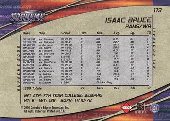 2000 Collector's Edge Supreme #113 Isaac Bruce Back