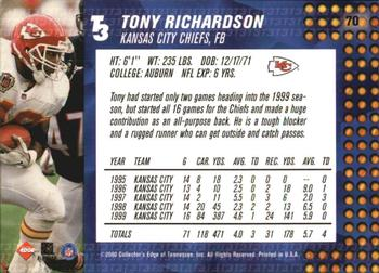 2000 Collector's Edge T3 #70 Tony Richardson Back