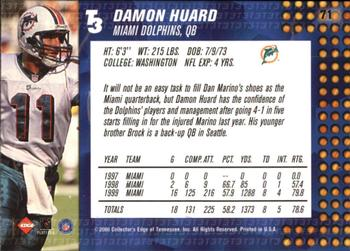 2000 Collector's Edge T3 #71 Damon Huard Back