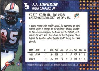 2000 Collector's Edge T3 #72 James Johnson Back