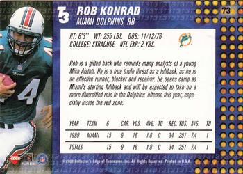 2000 Collector's Edge T3 #73 Rob Konrad Back
