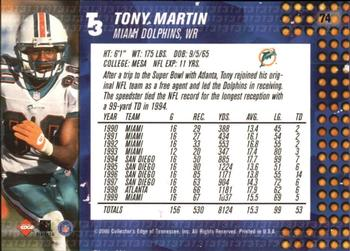 2000 Collector's Edge T3 #74 Tony Martin Back