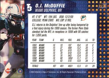 2000 Collector's Edge T3 #75 O.J. McDuffie Back
