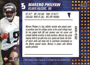 2000 Collector's Edge T3 #153 Mareno Philyaw Back