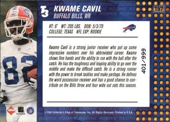 2000 Collector's Edge T3 #157 Kwame Cavil Back