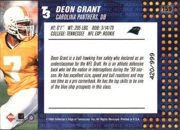 2000 Collector's Edge T3 #159 Deon Grant Back