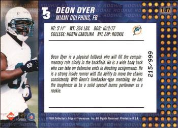 2000 Collector's Edge T3 #187 Deon Dyer Back