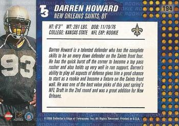 2000 Collector's Edge T3 #194 Darren Howard Back
