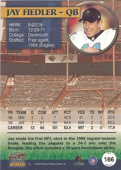 2000 Pacific #166 Jay Fiedler Back