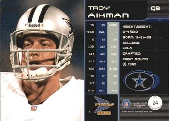 2000 Pacific Prism Prospects #24 Troy Aikman Back