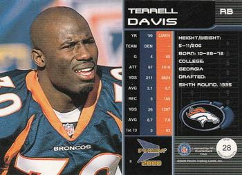 2000 Pacific Prism Prospects #28 Terrell Davis Back