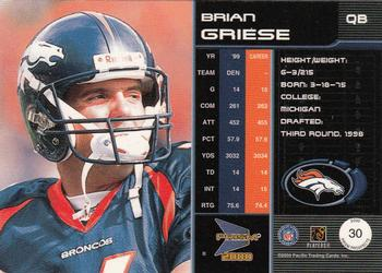 2000 Pacific Prism Prospects #30 Brian Griese Back
