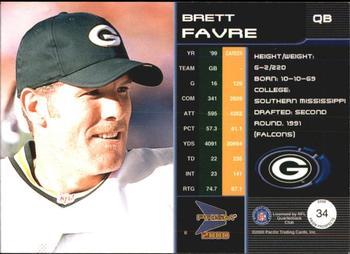 2000 Pacific Prism Prospects #34 Brett Favre Back