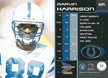 2000 Pacific Prism Prospects #37 Marvin Harrison Back