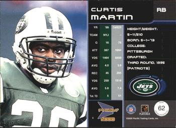 2000 Pacific Prism Prospects #62 Curtis Martin Back