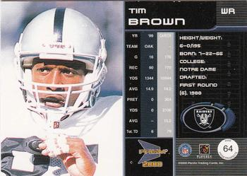 2000 Pacific Prism Prospects #64 Tim Brown Back
