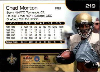 2000 SkyBox #219 Chad Morton Back