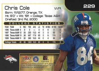 2000 SkyBox #229 Chris Cole Back