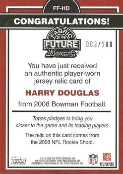 2008 Bowman - Fabric of the Future Gold #FF-JD Harry Douglas Back