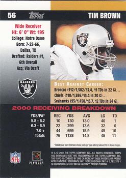 2001 Bowman's Best #56 Tim Brown Back