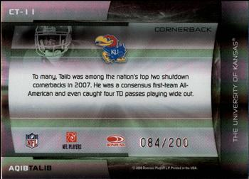 2008 Donruss Elite - College Ties Black #CT-11 Aqib Talib Back