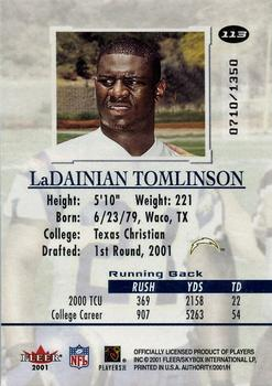 2001 Fleer Authority #113 LaDainian Tomlinson Back
