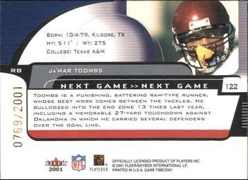 2001 Fleer Game Time #122 Ja'Mar Toombs Back