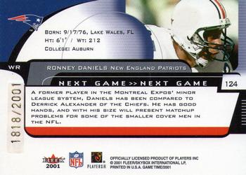 2001 Fleer Game Time #124 Ronney Daniels Back