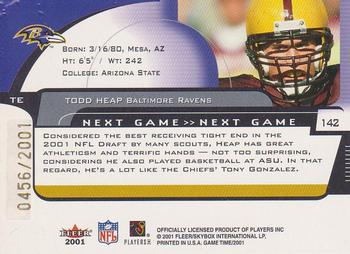 2001 Fleer Game Time #142 Todd Heap Back