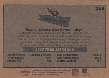 2001 Fleer Tradition Glossy #368 Tennessee Titans Back