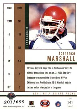 2001 Pacific Dynagon #141 Torrance Marshall Back